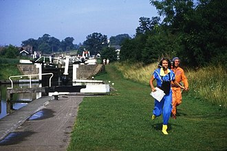Treasure Hunt (UK game show) - Anneka Rice filming at Hatton Locks in 1984