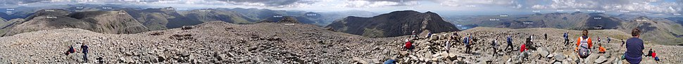 A panorama from the summit of Scafell Pike, August 2007