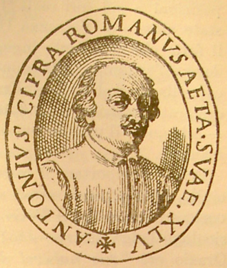 Antonio Cifra - Portrait of Antonio Cifra on the title page of the Sacrae Cantiones, Roma, 1638