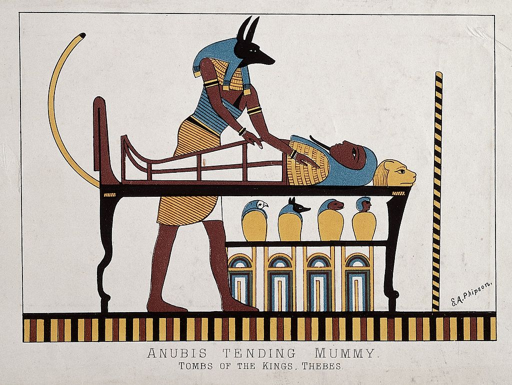 Anubis tending mummy. Tombs of the Kings, Thebes Wellcome L0027403