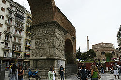 The Arch of Galerius and the Rotunda with its minaret
