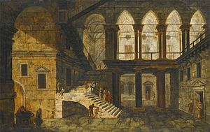 Michele Marieschi - Architectural Fantasy with a Staircase in a Courtyard