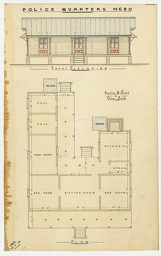 Nebo, Queensland - Architectural drawing of the Nebo Police Quarters, 1884