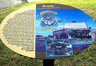 Armadillo World Headquarters - The commemorative plaque at the site where the Armadillo once stood