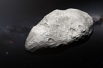 Kuiper belt - Artist's impression of plutino and possible former C-type asteroid 2004 EW<sub>95</sub>