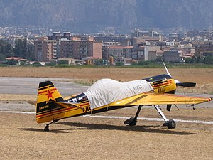 Palermo–Boccadifalco Airport - A view of part of the airport with a Sukhoi Su-31 in the foreground