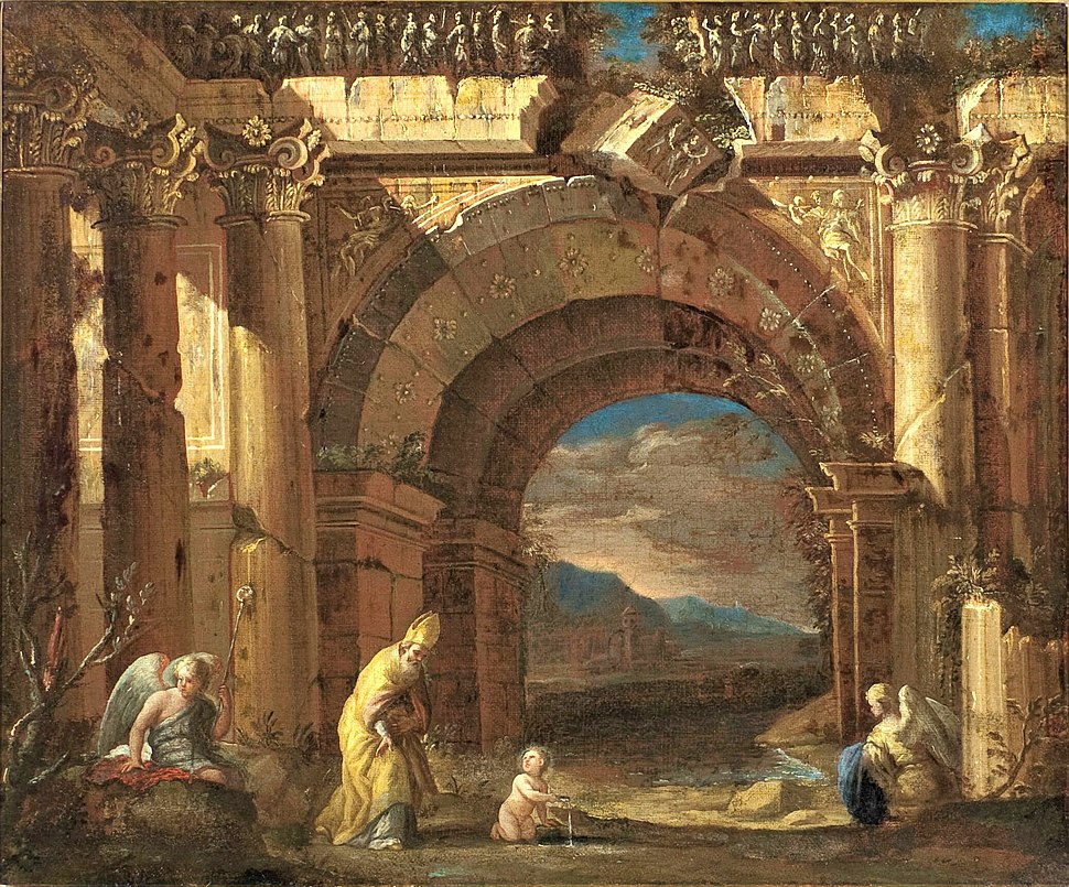 Ascanio Luciano – Capriccio with the vision of St. Augustine in a ruined arcade