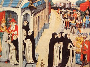 Baiju - Ascelin of Lombardia receiving a letter from Pope Innocent IV (left), and remitting it to the Mongol general Baiju (right).