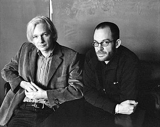 "WikiLeaks - Julian Assange (left) with Daniel Domscheit-Berg. Domscheit-Berg was ejected from WikiLeaks and started a rival ""whistleblower"" organisation named OpenLeaks."