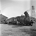 Atchison, Topeka, and Santa Fe, 'Cyrus K. Holliday' Locomotive No. 1 with Tender, Right Side with Station (15032309193).jpg