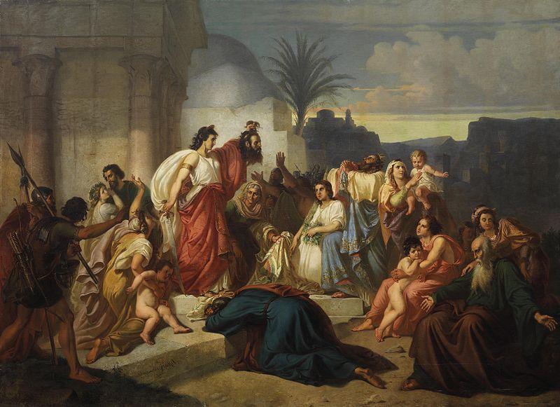 Datei:August von Heckel Judith zeigt den Bethuliern das Haupt des Holofernes.jpg