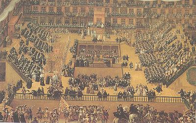 """Auto-da-fé """"Akt wiary"""" – publiczne wyrzeczenie się błędów przez ludzi osądzonych przez inkwizycję, w Madrycie w 1680 w obecności króla Karola II. Obraz Francisco Rizi, Prado"""