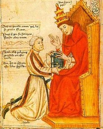 Pero López de Ayala - Detail from Castilian manuscript of Saint Gregory's Morales (Commentary on Job).  López de Ayala kneels before Saint Gregory.