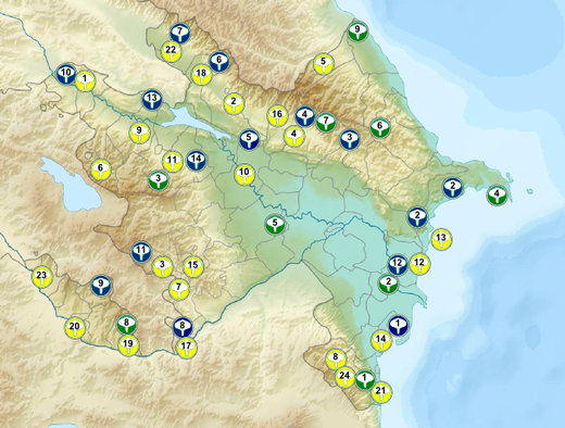 Physical map of Azerbaijan