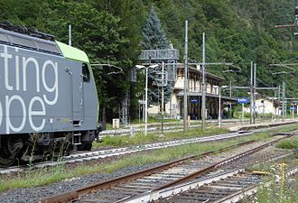 Simplon Railway - Although the line crosses from the property of the SBB to that of the Ferrovie dello Stato in Iselle, Domodossola is electrified with the Swiss electrical system and uses Swiss operating rules. The ground staff, however, are provided by FS. BLS class Re 485 locomotive passing through Iselle.