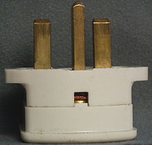 ac power plugs and sockets british and related types note the unsleeved line neutral pins and the inspection hole for the purpose of making the connection of an earth conductor visible