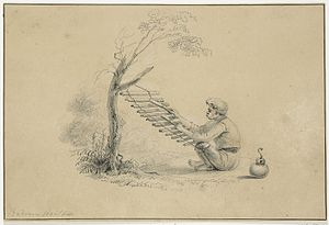 Baduy people - An illustration of a Baduy man playing a calung musical instrument by Jannes Theodorus Bik, circa 1816-1846.