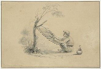 Baduy people - An illustration of a Baduy man playing a calung musical instrument by Jannes Theodorus Bik, circa 1816–1846.
