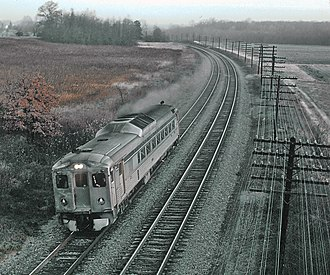 MARC Train - A B&O train near the Beltway in 1970, running on what is now the Camden Line