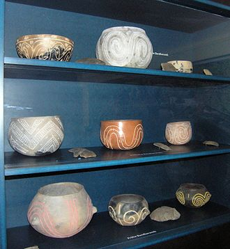 Linear Pottery culture - Reconstructions of Linear Pottery vessels from shards. Bandkeramik-Museum in Schwanfeld, Bavaria, Germany
