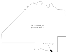 Location of Bartram Springs in Jacksonville