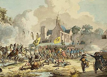 French-Dutch victory under General Brune and General Daendels against the Russians and British in 1799 Battle bergen.jpg