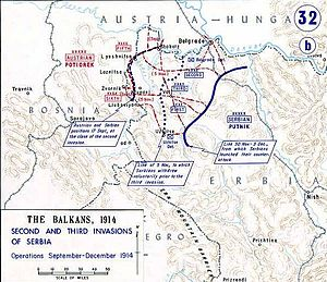 Battle of Kolubara - A map depicting the third Austro-Hungarian invasion of Serbia, November–December 1914.