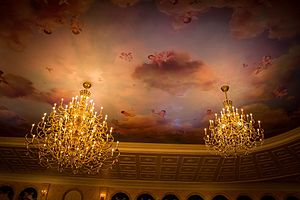 Be Our Guest Restaurant - The chandeliers in the ballroom that is based on the ballroom scene from the 1991 film