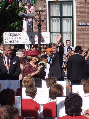 Koningsdag - Queen Beatrix and her son and heir Willem-Alexander, Prince of Orange (waving) visit Woudrichem in 2007.