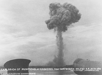 History of Dartmouth, Nova Scotia - Blast cloud from the Bedford Magazine Explosion