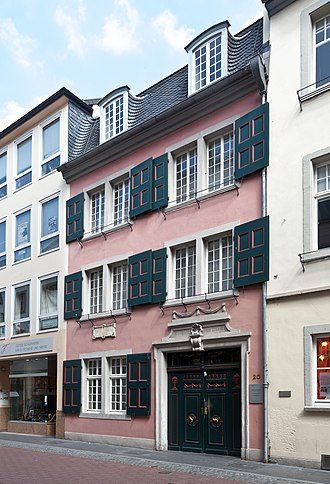 "Beethoven House - Beethoven's birthplace at Bonngasse (center), next to the house ""Im Mohren"""