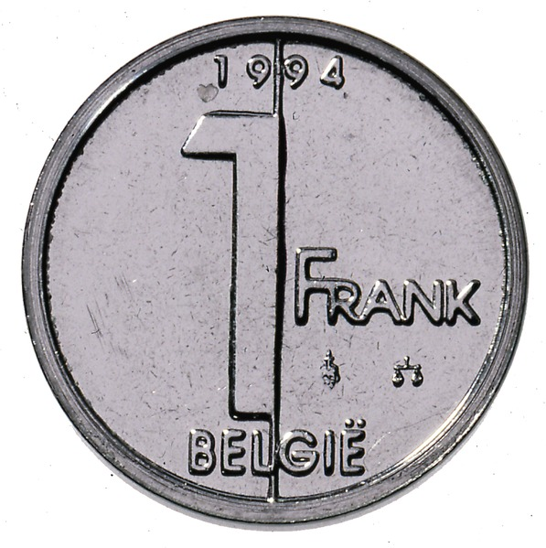 Belgian coin of 1 franc Albert II in Dutch - reverse