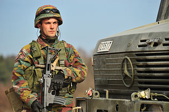 EU Battlegroup - A Belgian soldier on exercise with the EU Battlegroup in Germany, 2014