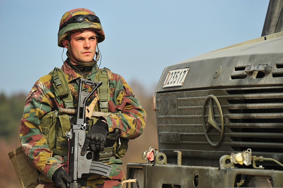 Belgian soldier during Rampant Lion, EU Battlegroup 2014 II exercise in Grafenwoehr, Germany