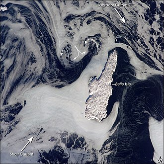 Belle Isle (Newfoundland and Labrador) - Astronaut photo of Belle Isle showing the interaction of the Labrador Current and that from the Strait of Belle Isle
