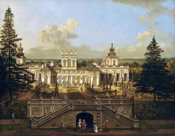 Palais de Wilanow sur une toile de Belletto (Canaletto)