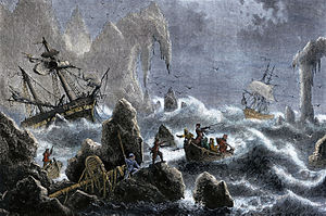 Vitus Bering - Vitus Bering's expedition being wrecked on the Aleutian Islands in 1741.