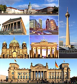 Clockwise from top: Charlottenburg Palace, Fernsehturm Berlin, Reichstag building, Berlin Cathedral, Alte Nationalgalerie, Potsdamer Platz and the Brandenburg Gate.