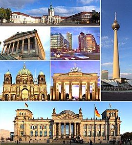 Clockwise: Charlottenburg Palace, Fernsehturm Berlin, Reichstag building, Berlin Cathedral, Alte Nationalgalerie, Potsdamer Platz and Brandenburg Gate.