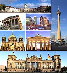 จากบนสุดตามเข็มนาฬิกา: Charlottenburg Palace, Fernsehturm Berlin, Reichstag building, Berlin Cathedral, Alte Nationalgalerie, Potsdamer Platz และ ประตูบรันเดนบูร์ก