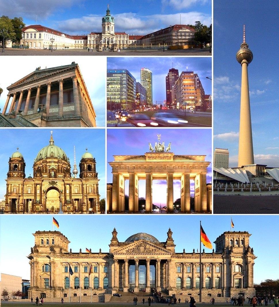 Từ trên xuống dưới, từ trái sang phải: Lâu đài Charlottenburg, Tháp truyền hình Berlin, Viện bảo tàng nghệ thuật Alte Nationalgalerie, Quảng trường Potsdam, Nhà thờ chính tòa Berlin, Cổng Brandenburg, và Tòa nhà Quốc hội Reichstag