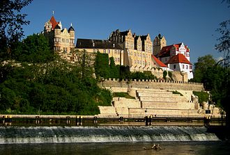 Bernburg - Bernburg Castle on the Saale river