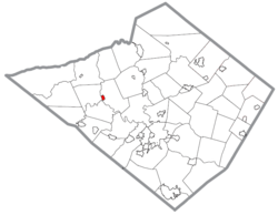 Location of Bernville in Berks County, Pennsylvania.