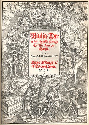 "Ø - Title page of the Christian III Bible, employing the spelling ""Københaffn""."