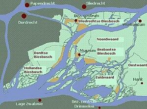 De Biesbosch - Simple map of the Biesbosch.