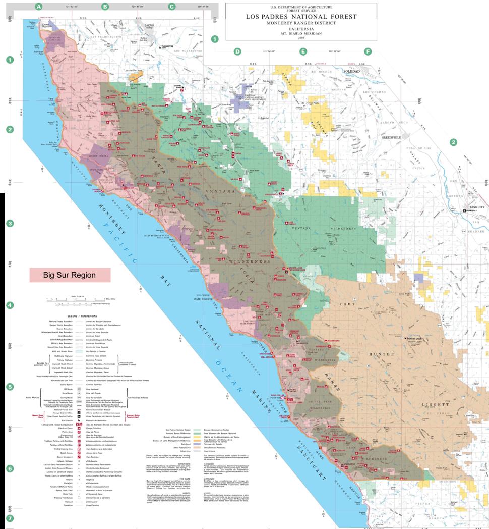 Approximate boundaries of the Big Sur region