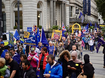 A pro-EU demonstration in Birmingham in September 2018 Birmingham Bin-Brexit rally for the Conservative Party conference, September 30, 2018 10.jpg