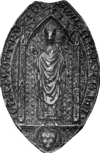 William Fraser (bishop of St Andrews) - The seal of Bishop William Fraser. The other side contains his arms, making this the earliest episcopal seal from the British Isles on which the arms are represented.