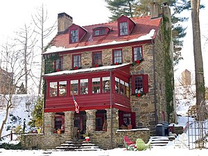 """Will Price - """"Bishop White House,"""" Rose Valley, Pennsylvania (altered 1902). Price added the 2-story porch and tile roof."""