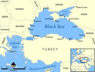 Black Sea Eurasian sea northeast of the Mediterranean Sea